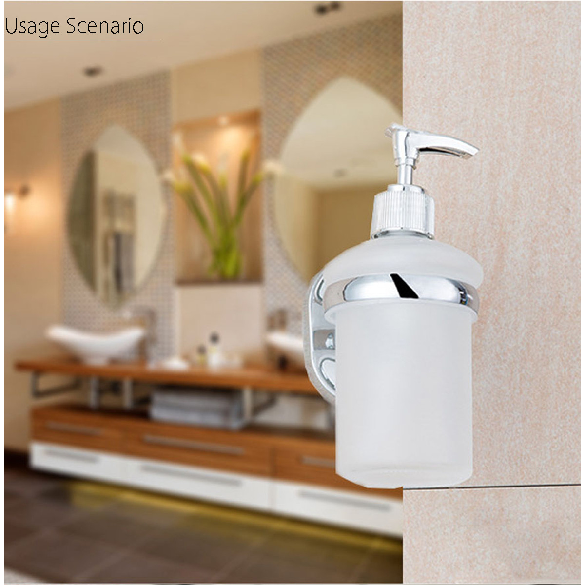 Stainless Steel Wall Mounted Soap Dispenser Holder Shampoo Bottle Frosted Glass