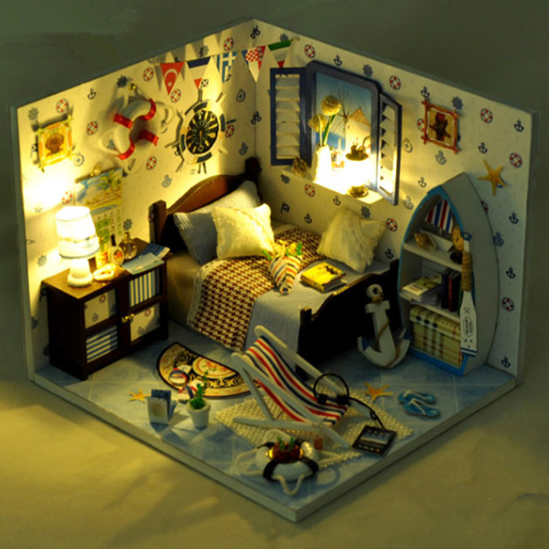 T-Yu TD11 Summer Sea House DIY Dollhouse With Light Cover Miniature Model Gift Collection Decor