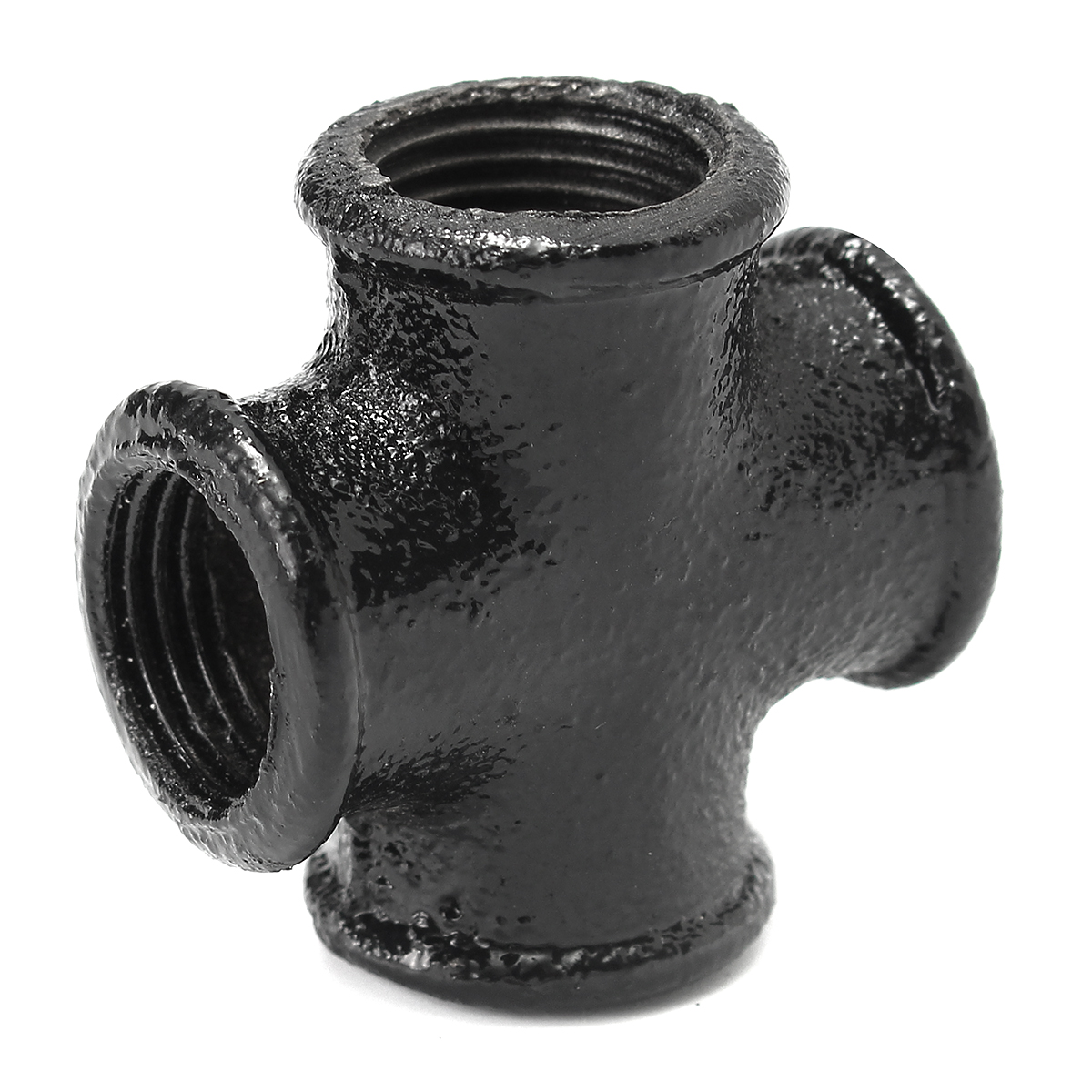 1/2 Inch Iron Threaded Cross Pipe Plumbing Fitting 4-Wa