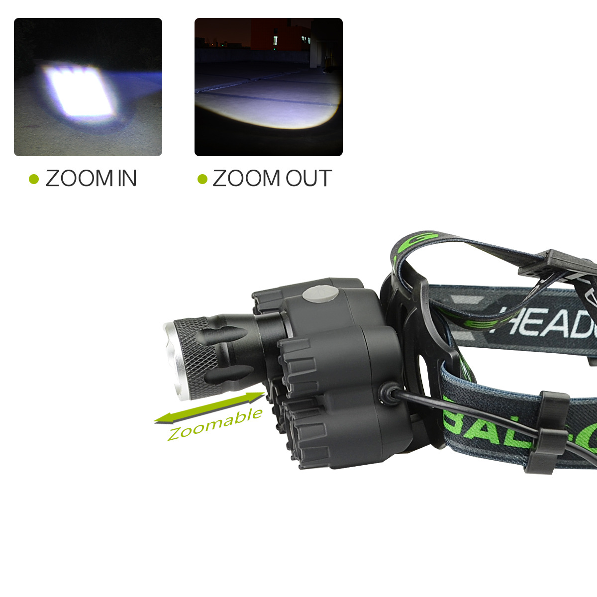 XANES BL-T76-B6 2500LM T6-4XPE-Blue LED 6 Modes Telescopic Zoom Cycling Hunting Camping Outdoor Headlamp COB Back Light USB Charging Interface