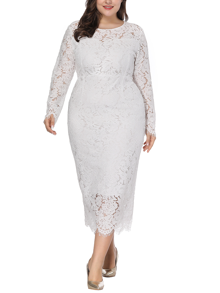 Plus Size Lace Elegant Party Long Sleeve Women Dress
