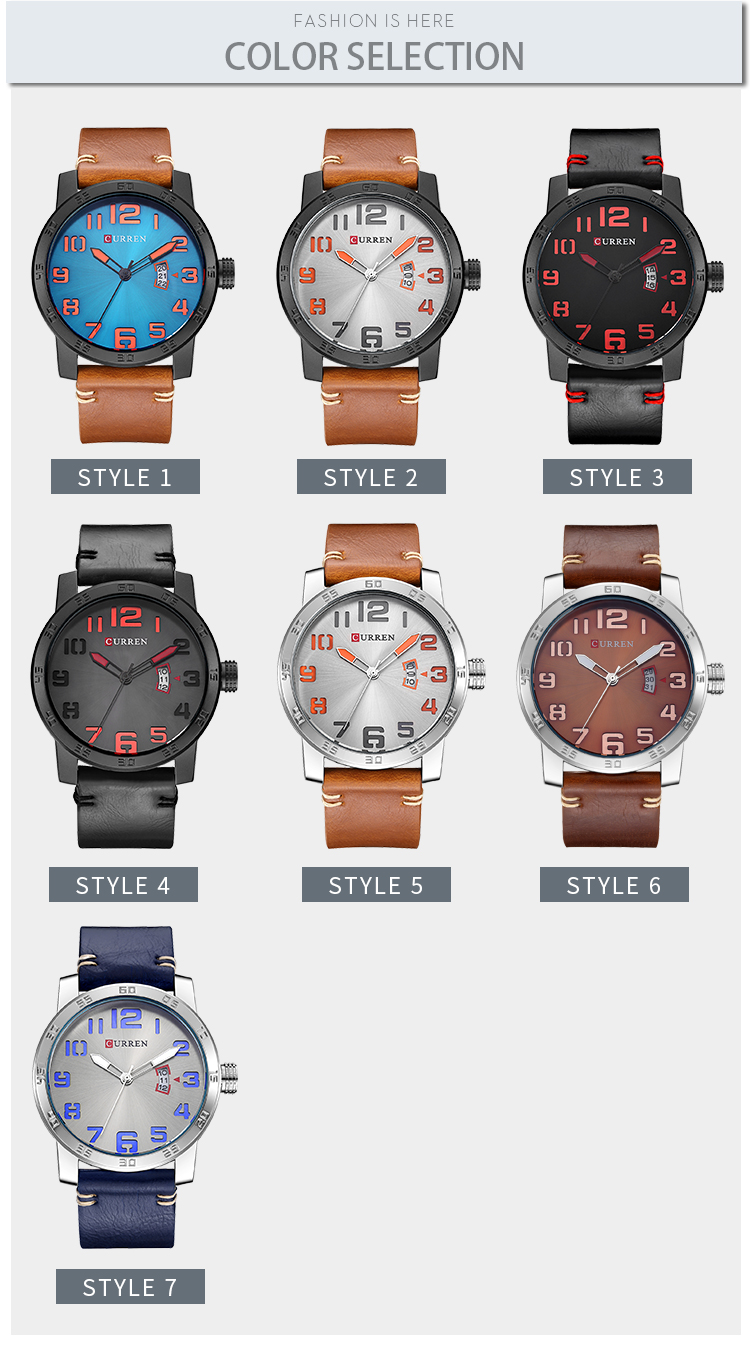 CURREN 8254 Calendar Casual Style Leather Strap Men Watch