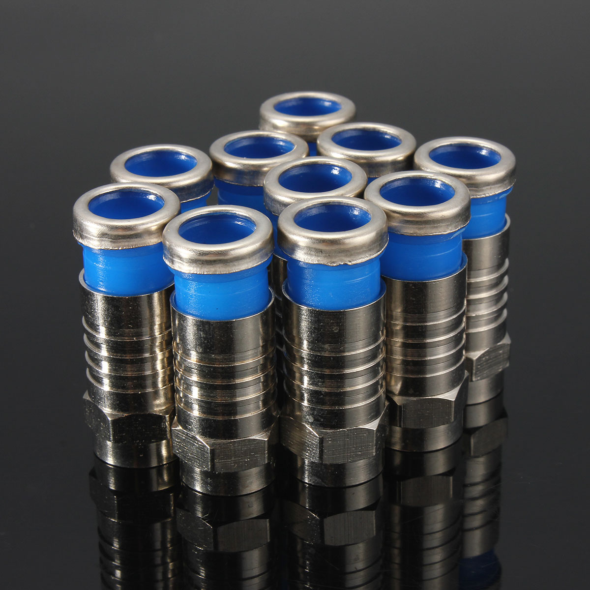 10Pcs F Male Plug Connectors Compression for RG59 Coaxial Cable RG6