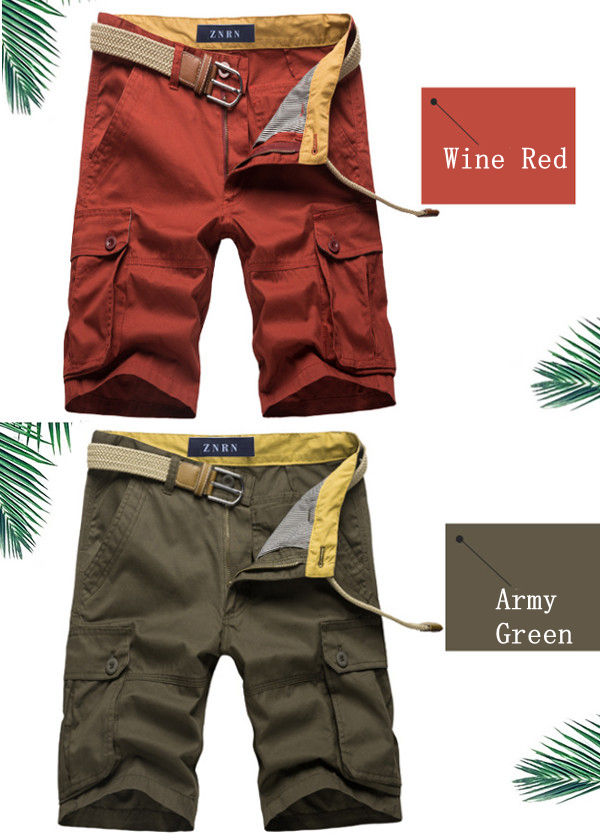 Summer Men's Large Size Casual Cargo Shorts Solid Color Loose Straight Shorts