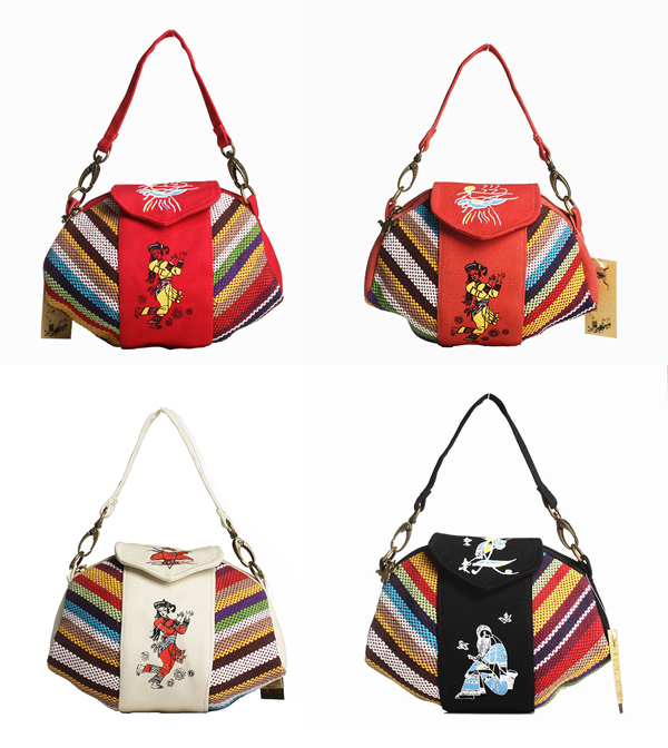 Women National Style Canvas Casual Handbags
