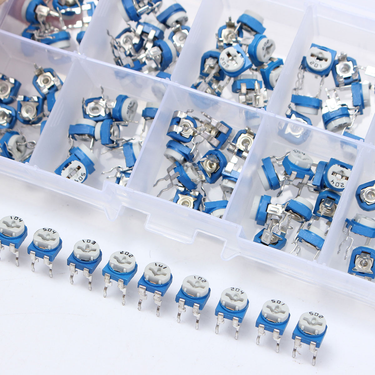 100X 100R~500K ohm Horizontal Pot Variable Cermet Potentiometer Trimmer Resistor