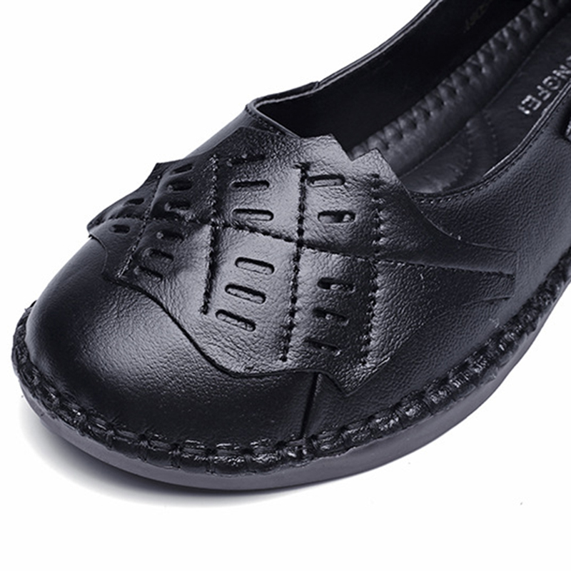 Women Genuine Leather Soft Sole Slip On Casual Flats