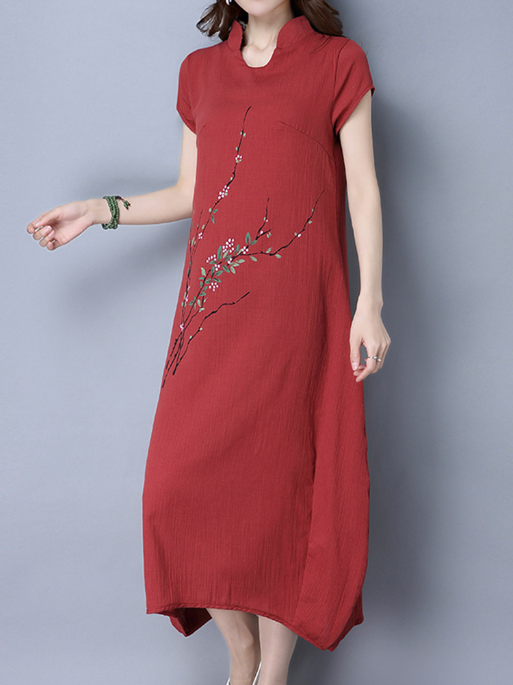 Wine Red Floral Printed Short Sleeve Women Stand Collar Zipper Dresses