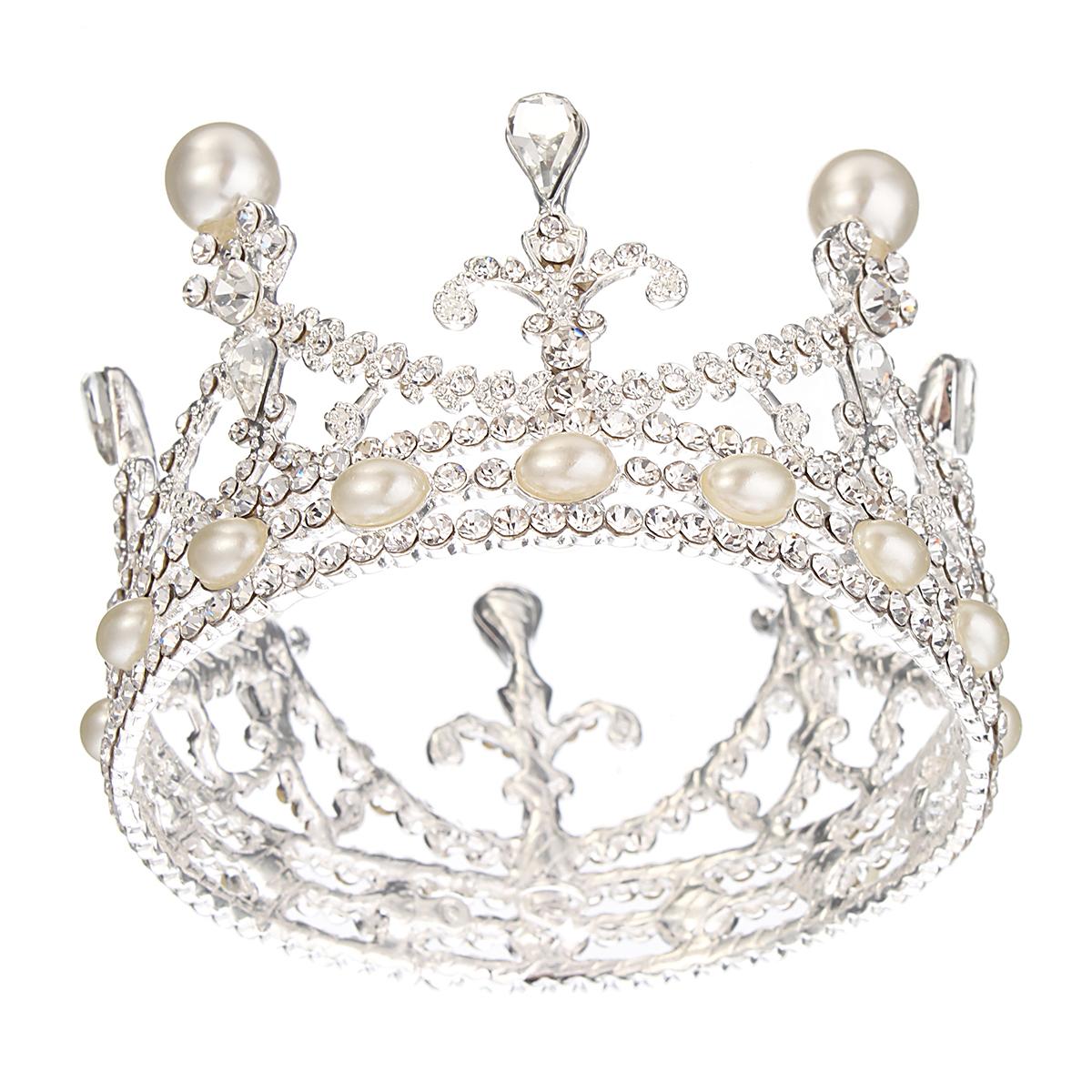 Bride Rhinestone Diamond Pearl Crown Tiara Head Jewelry Princess Queen Headpiece Wedding Accessories