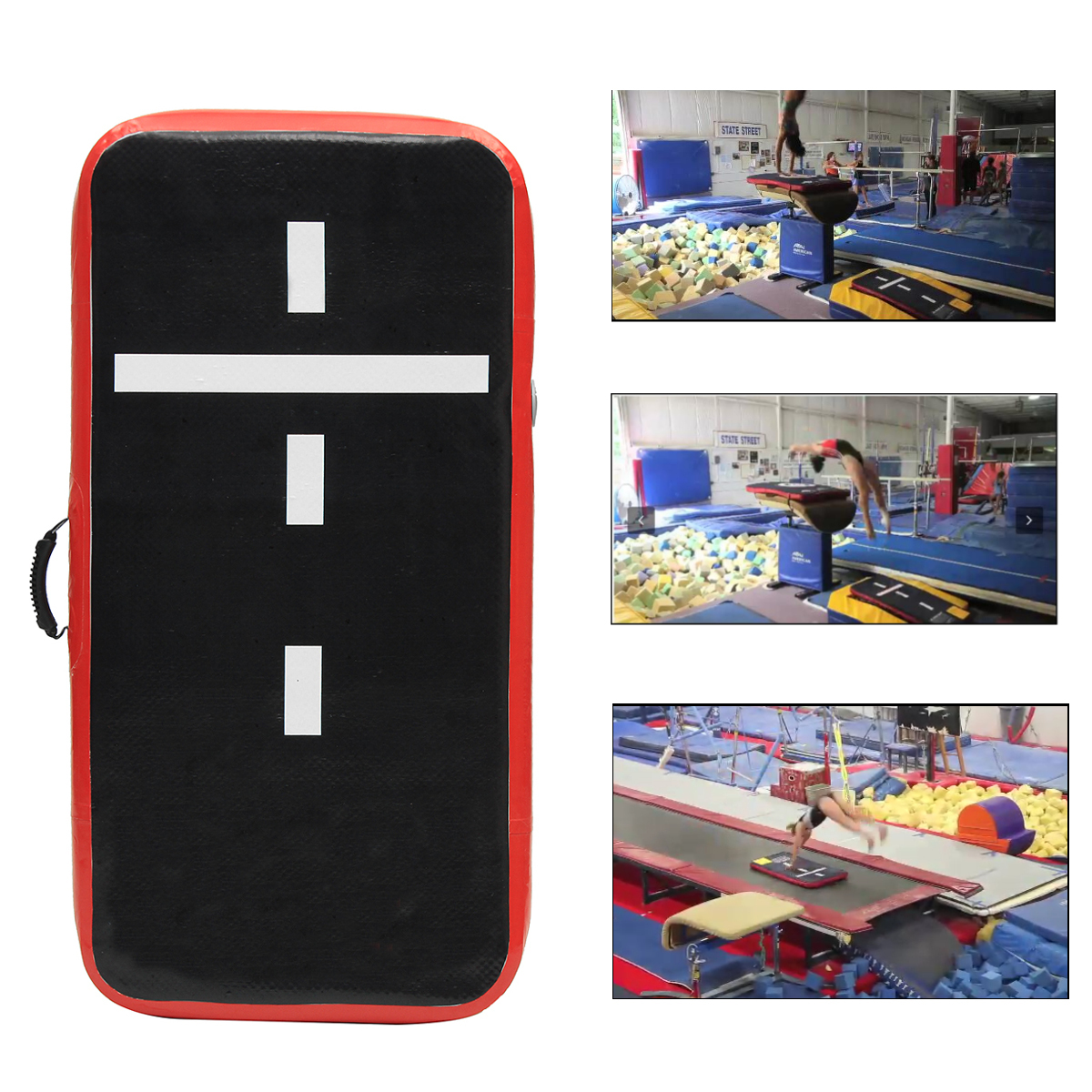 23.6x112.4x1.97inch Airtrack Gymnastics Mat Sports Rolling Mat Inflatable GYM Air Track Mat Set With Manual Pump