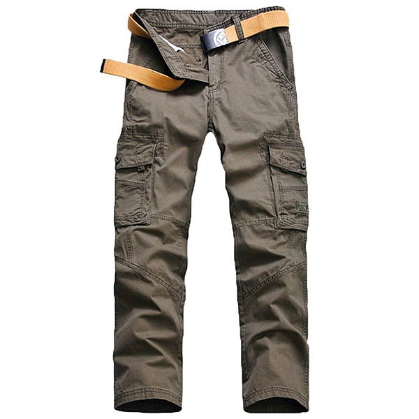 Loose Cargo Pants Mens Outdoor Casual Cotton Multi Big Pocket Trousers