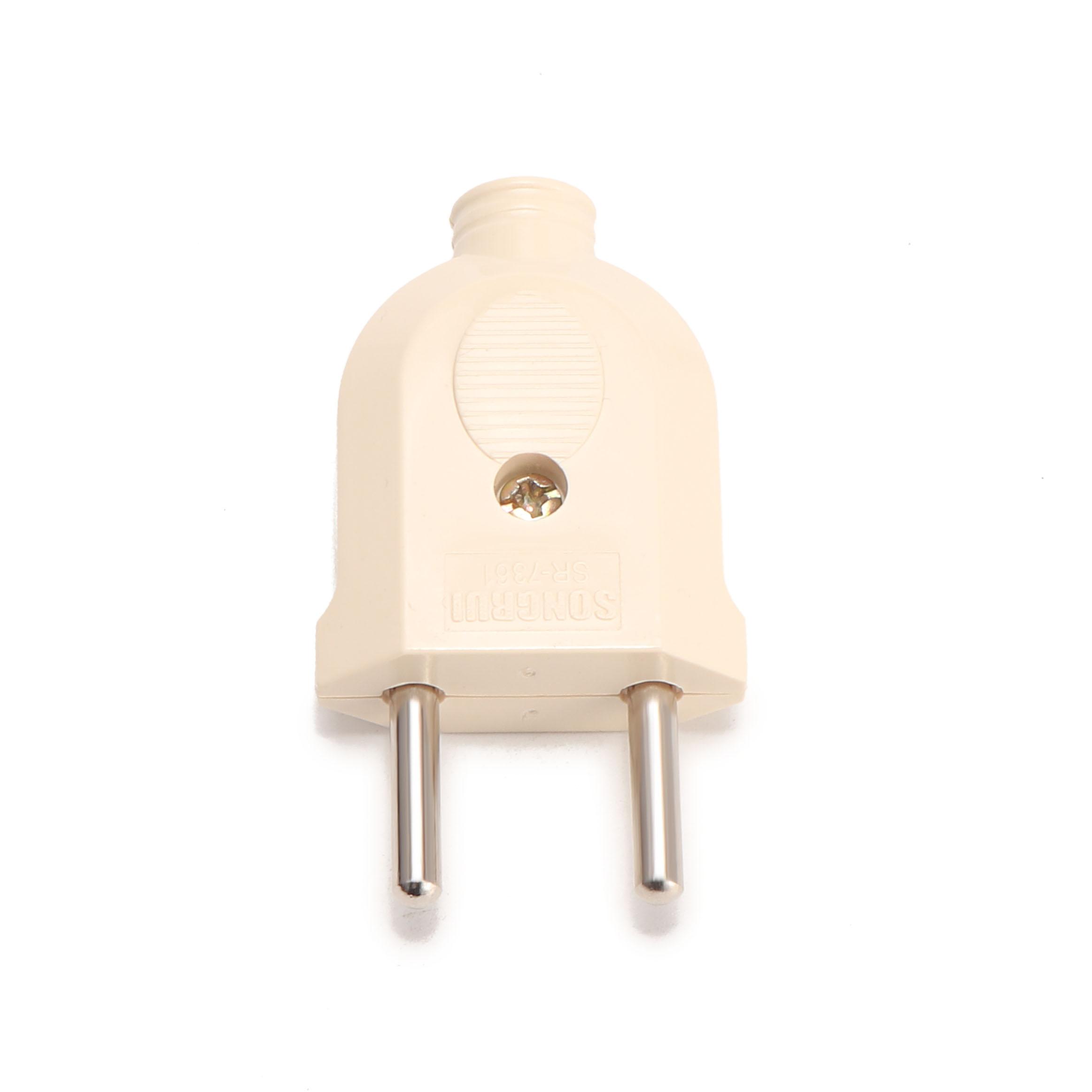 Loskii HA-17 EU Wire Plug Residential Round Pins Plug 10-Amp 250-Volt Two Pins Plug for DIY