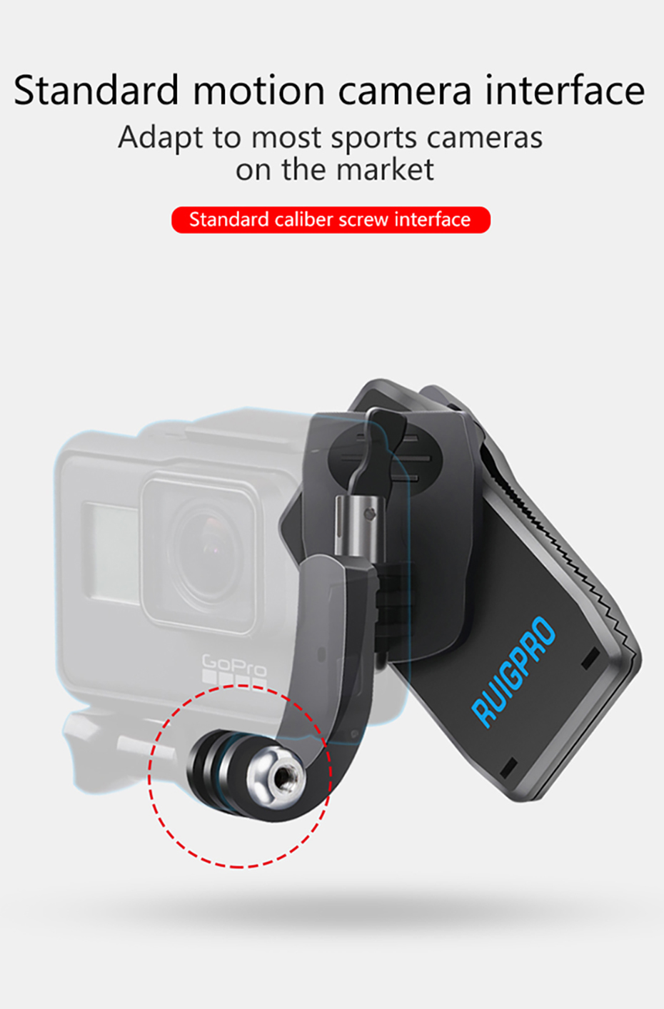 RUIGPRO 360 Degree Adjustable Backpack Clip Clamp Mount Bracket for DJI Osmo Action/GoPro 7/6/5 Xiaomi Yi /Sjcam Sports Camera Accessories - Photo: 7