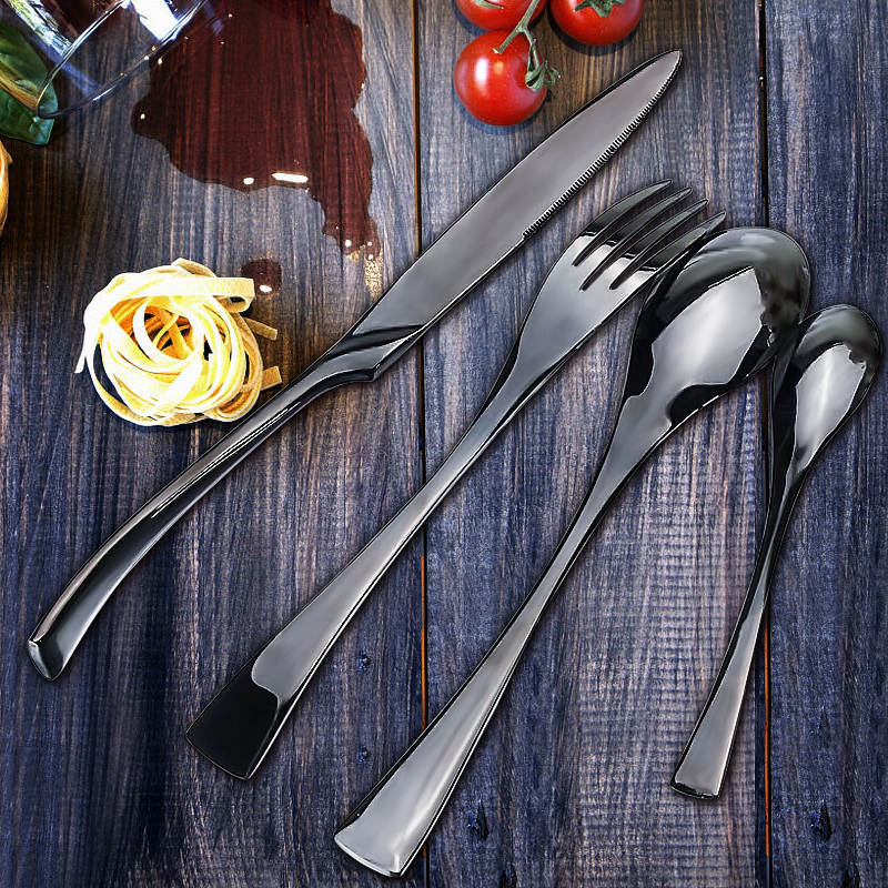 KCASA FL12 4PCS Black Western Food Dinnerware Stainless Steel Cutlery Fork Spoon Tea Spoon Knife