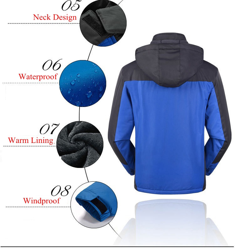 Big Size M-6XL Mens Fall Winter Velvet Thick Hooded Outdoor Waterproof Windbreaker Jacket