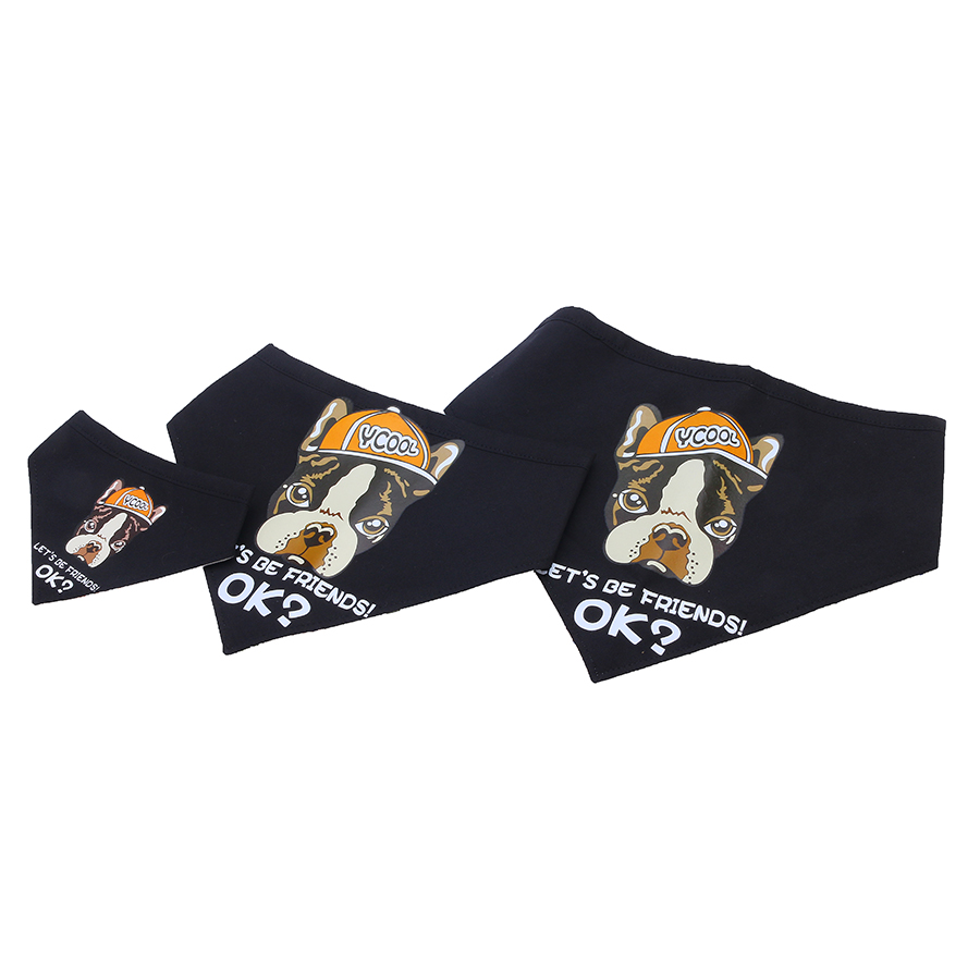 Yani KG-1 Canna di cane Bandana Canna Black Let's Be Friend Puppy Accessorio per animali da compagnia