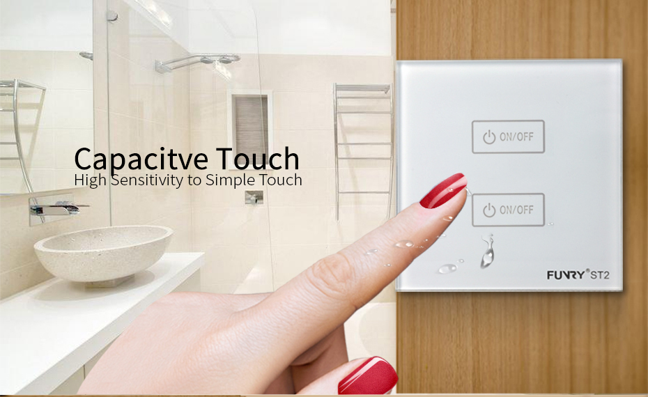 FUNRY ST2-EU 2 Gang 1 Way Wall Switch Capacitive Touch Switch Luxury Tempered Glass Surface Waterproof/Fireproof Remote Control Support RM PRO