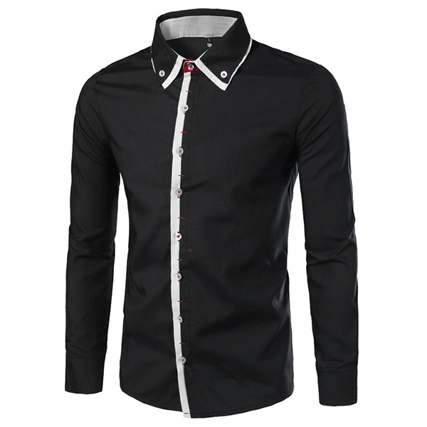Mens Contrast Color Fashion Double Collar Plackets Long Sleeve Slim Fit Long Sleeve Shirt