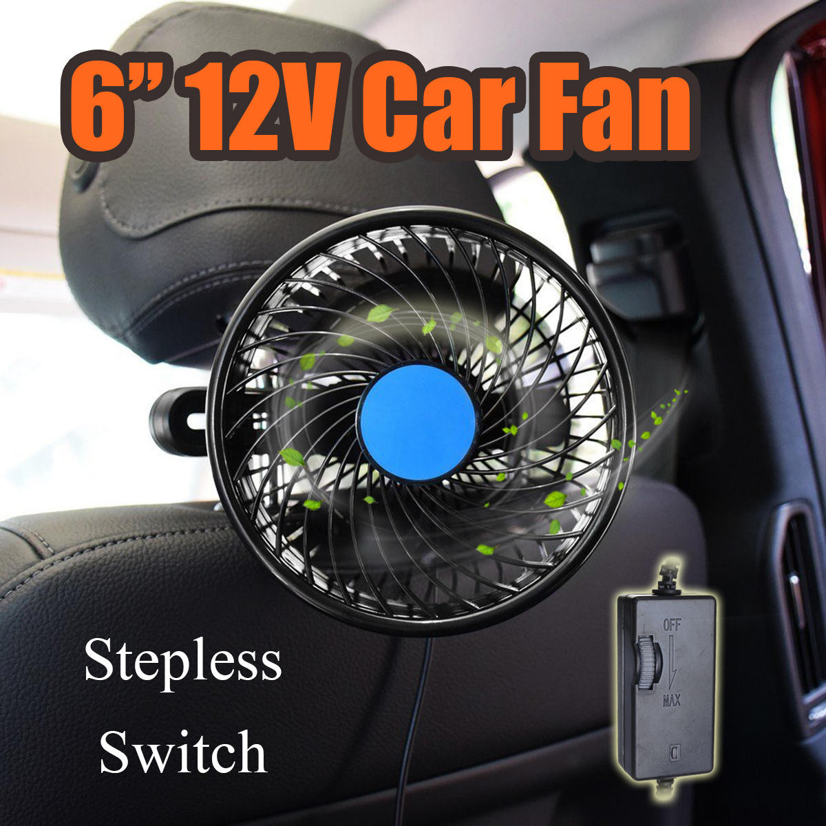 6 Inch 12V Vehicle Auto Car Headrest Rear Seat Cooling Fan 360 Degree Rotatable Stepless