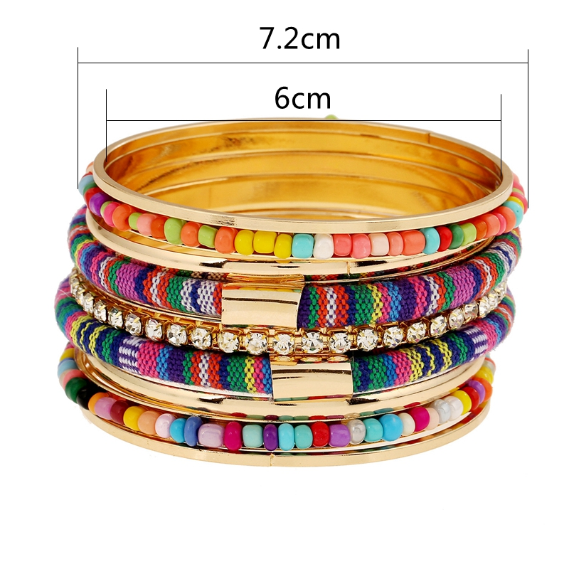 Bohemian Bead Fabric Rhinestone Multilayer Metal Bangle Bracelet