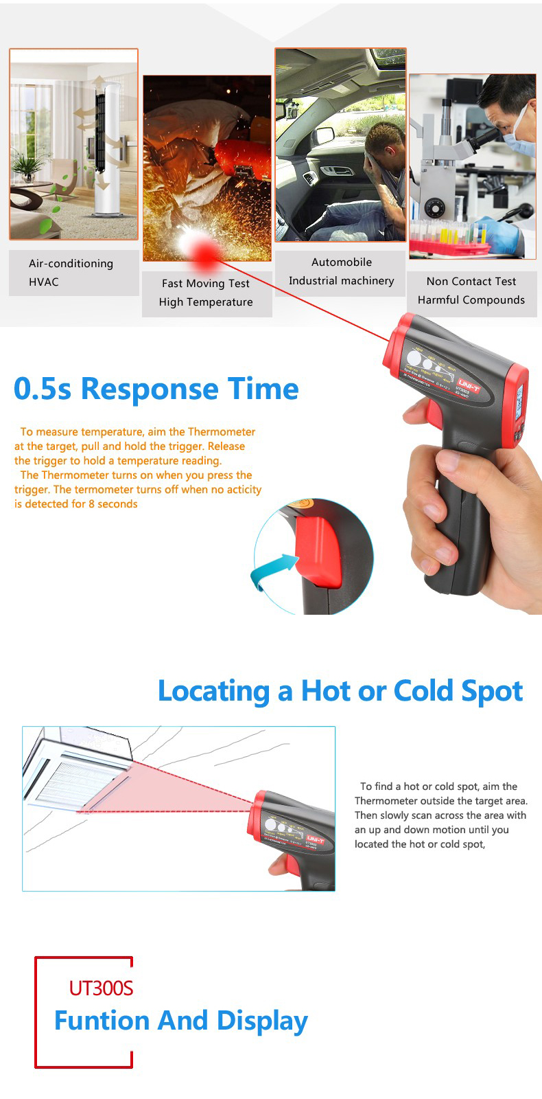 UNI-T UT300S Handheld Digital Non Contact IR Infrared Thermometer Temperature Gun with LCD Backlight