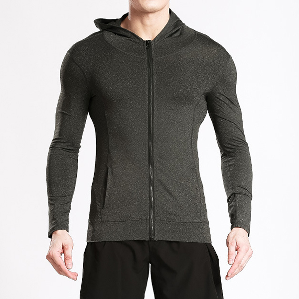 Mens Fitness Training Tight Hoodies Casual Zipper Slim Fit Sport Sweatshirt