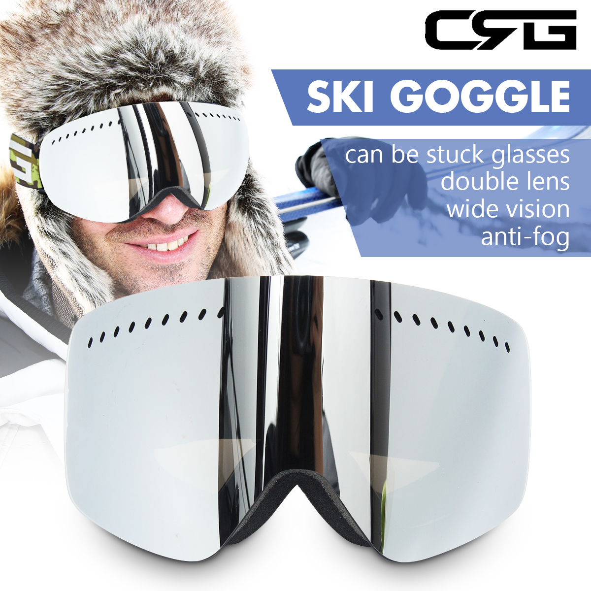 Unisex Pro Snow Sport Skiing Goggles Snowboard Double Lens Anti-fog UV400 Glasses