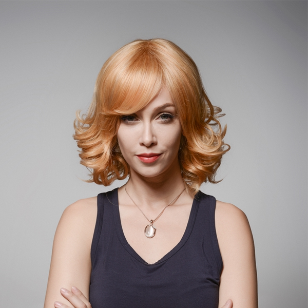 Wave Medium Remy Mono Human Blonde Hair Wig Side Bang Curly Virgin Top Capless 33cm