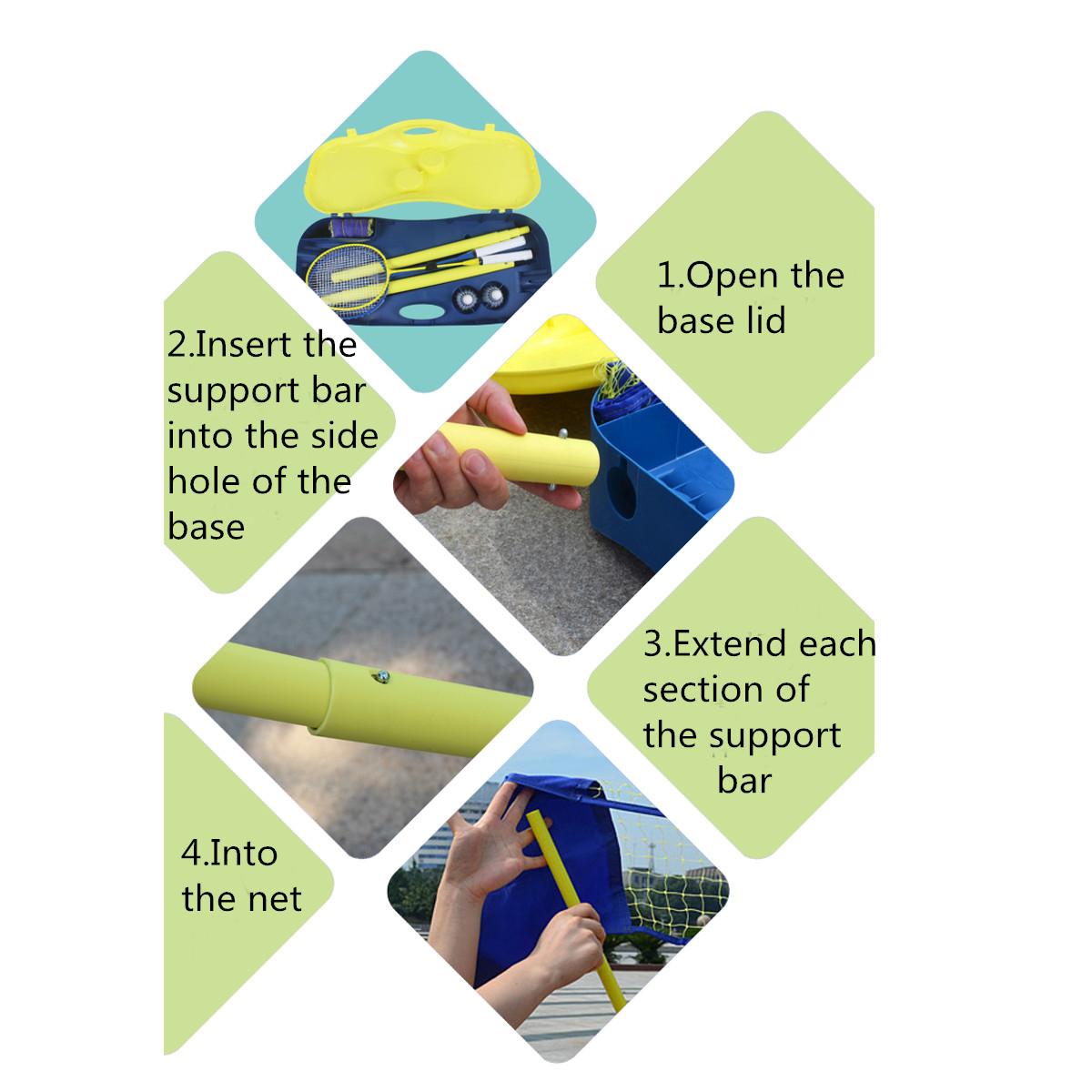 3 in 1 Outdoor Sport Badminton Tennis Volleyball Net Portable Stand Battledore Set