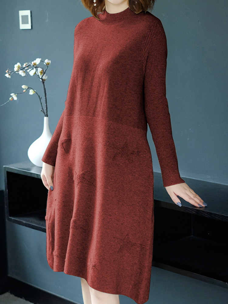 Women Pure Color High Collar Long Sleeve Knitting Dress
