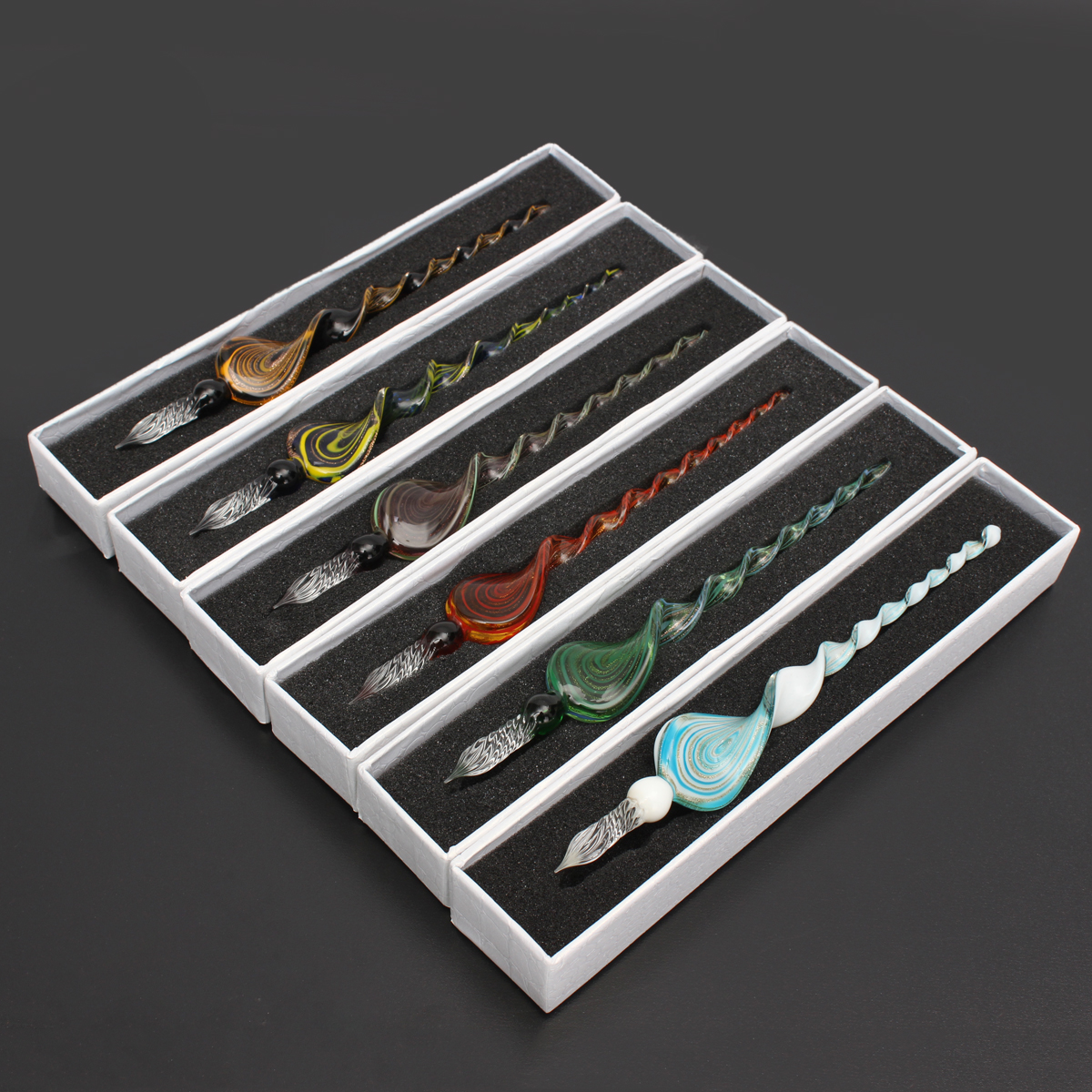 Creative Vintage Handmade Art Elegant Crystal Glass Dip Sign Pen Gift