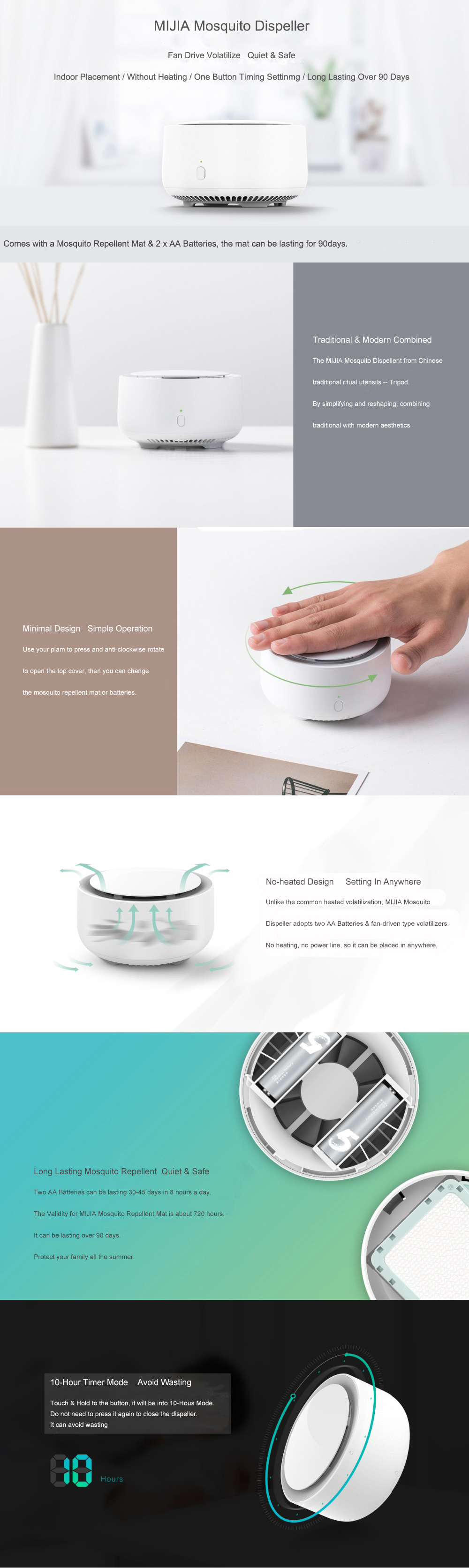 XIAOMI MIJIA Original Garden Electric Household Mosquito Dispeller Harmless Mosquito Insect Repeller