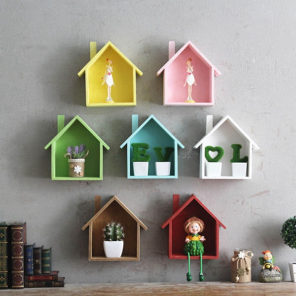 Wooden House Shelving Display Unit Wall Hanging Kitchen Storage Rack Box Home Decoration