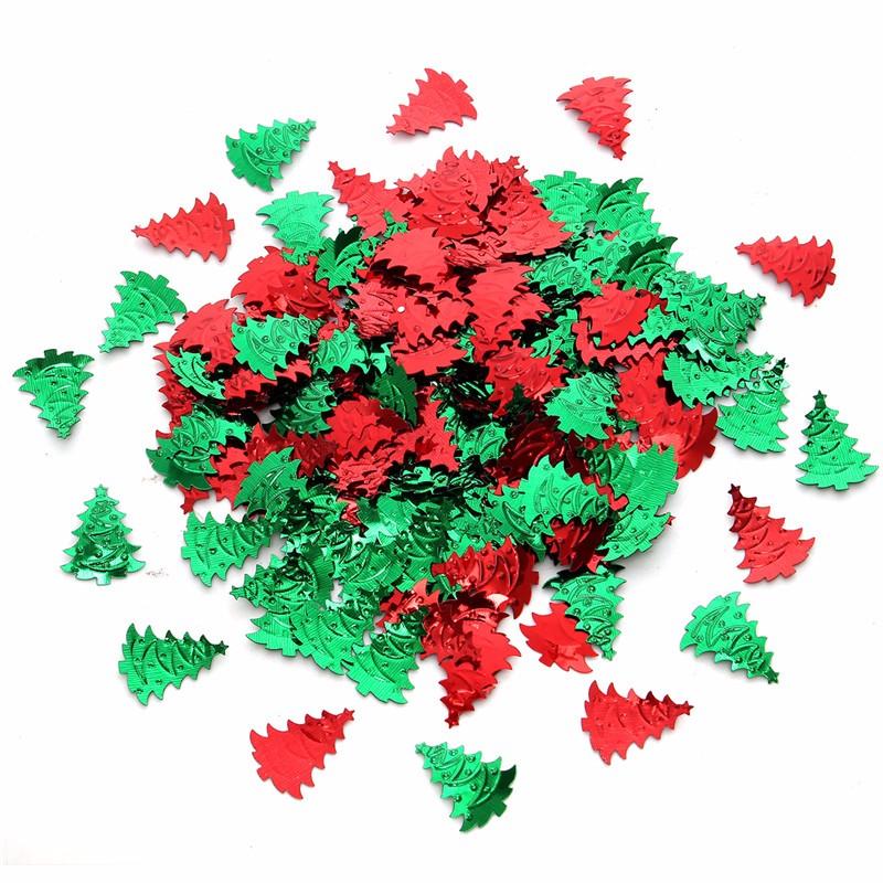 800-1000PCS Mixed Random Green Red Christmas Tree Santa Clause Plastic Confetti Decoration