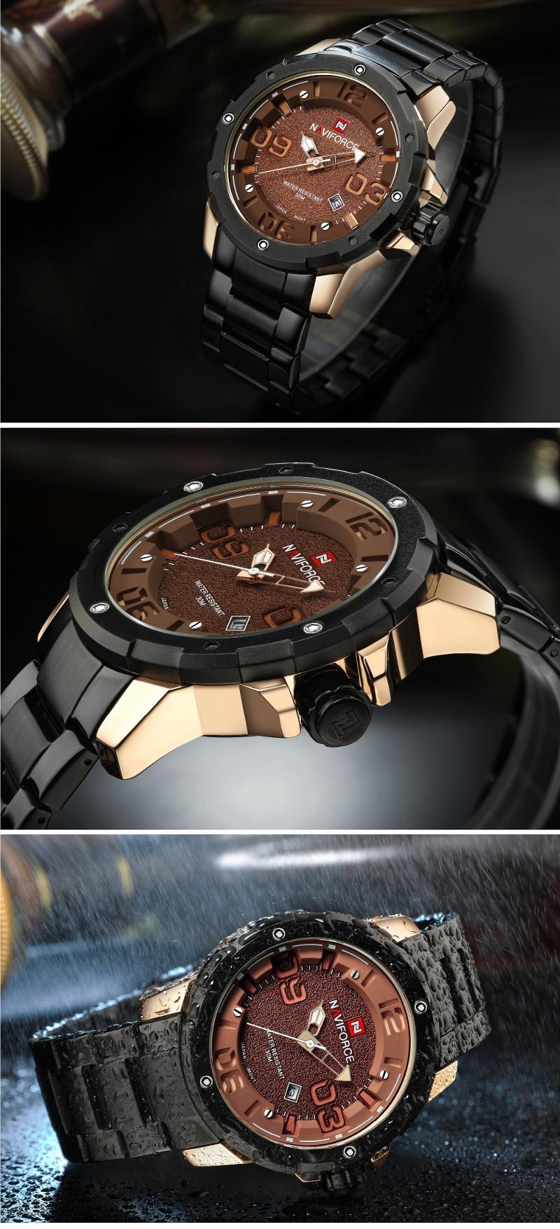 NAVIFORCE NF9078 Fashion Men Quartz Watch Luxury Stainless Steel Sport Watch
