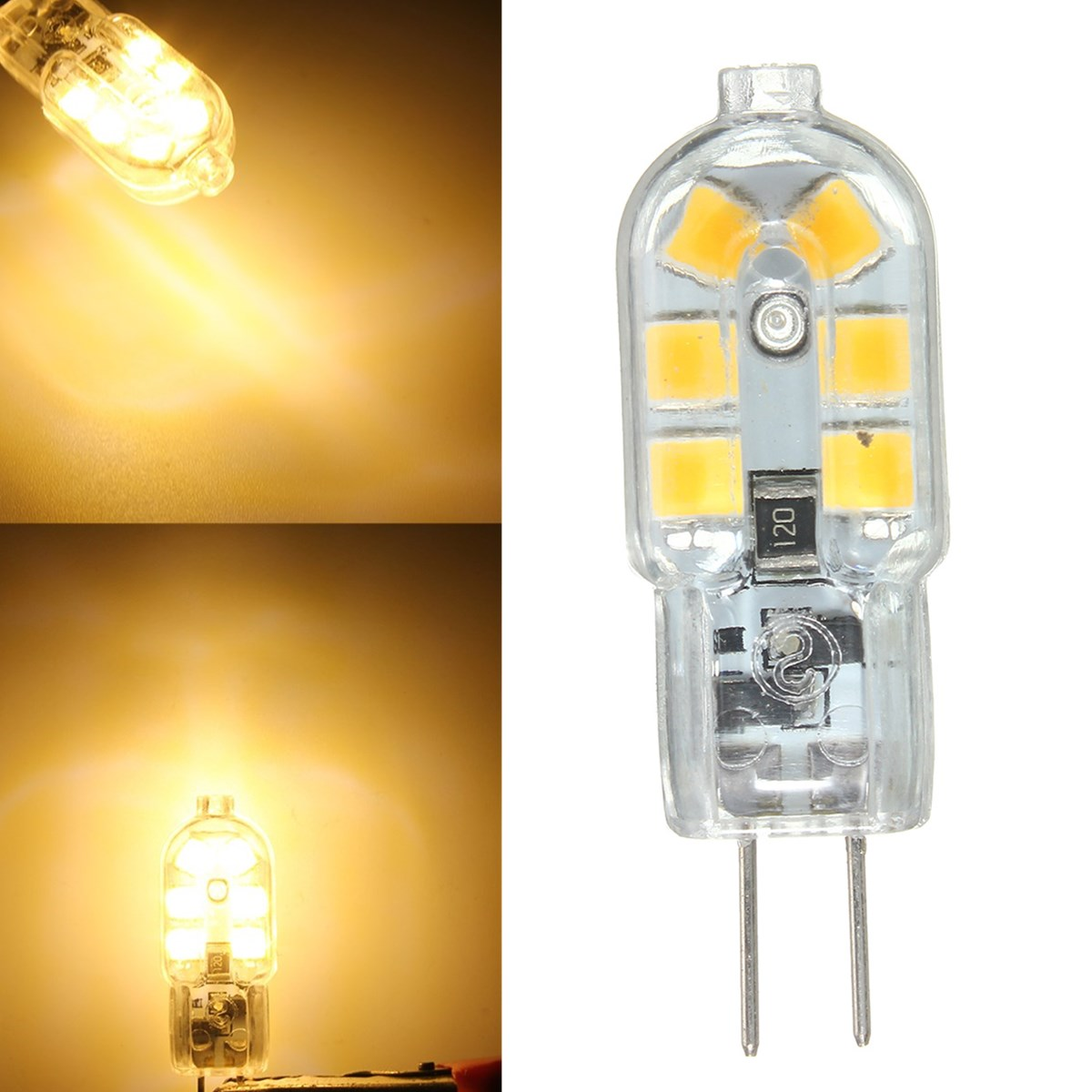 6PCS DC12V G4 2W Non-dimmable SMD2835 Warm White Transparent LED Light Bulb for Indoor Home Decor