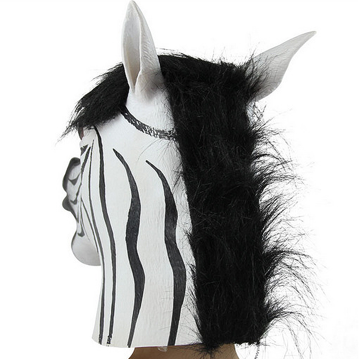 Funny Zebra Latex Head Mask Animal Cosplay For Halloween Costume Festival