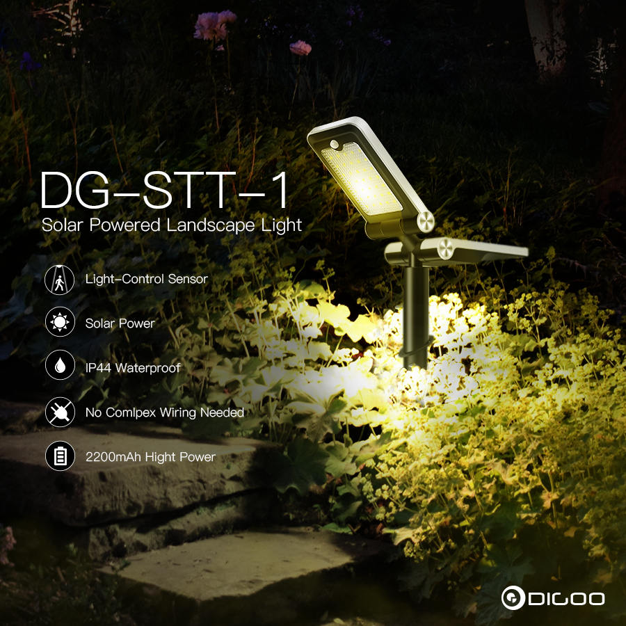 Digoo DG-SST-1 Garden LED Landscape Light Solar Panel Powered Wireless PIR Sensor Waterproof Adjustable Street Lamp