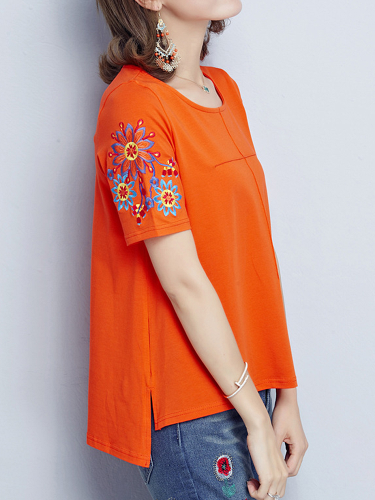 Ethnic Women Short Sleeve Floral Embroidered Loose O-Neck T-shirt