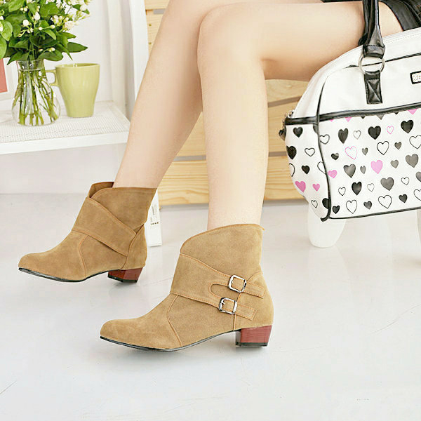 US Size 5-12 Women Short Boots Casual Outdoor Slip On High Heel Shoes