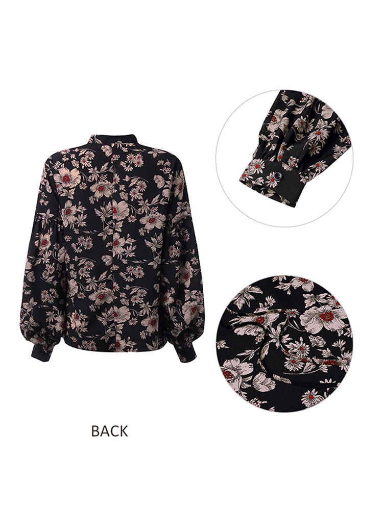 Elegant Floral Print V-Neck Blouse for Women