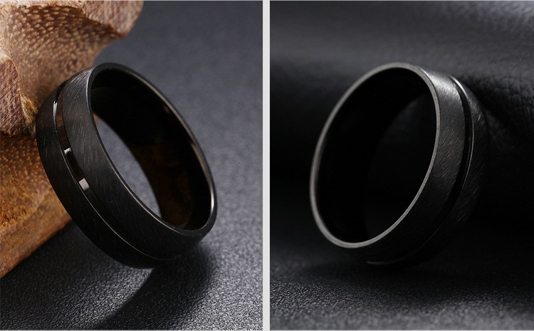 8mm Black Stainless Steel Men Ring Jewelry Clothing Accessories