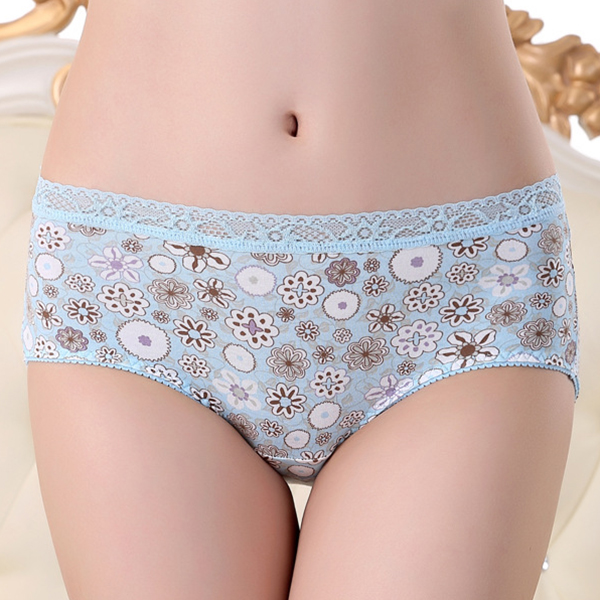 Cosy Cotton Mid Waist Hip Lifting Lace-trim Stretchy Breathable Printed Soft Panties