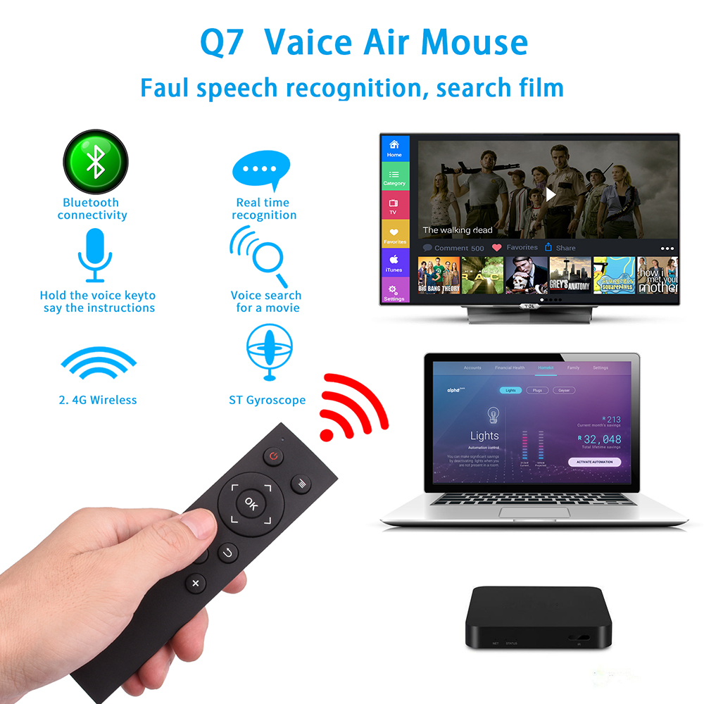 2.4GHz and Voice remote control AI Voice Air Mouse Q7