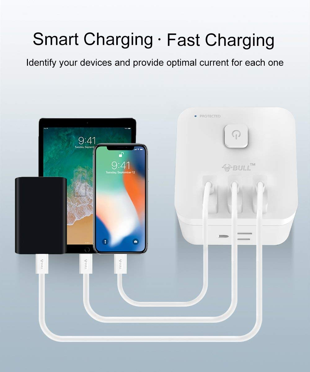 BULL US Plug 3 USB Ports 3 AC Outlets Cubic Design Wireless Smart Charging Station Power Strip