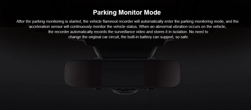 Xiaomi Mijia 5 Inch IPS Screen Smart Rearview Mirror Car DVR Black