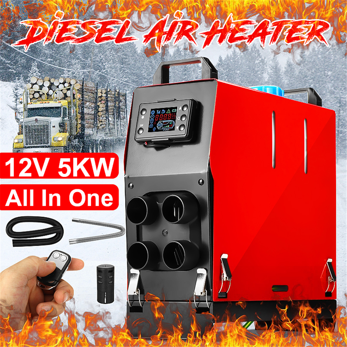 12V 5KW Diesel Air Heater 4 Holes All In 1 +LCD Thermostat for Trailer Truck Car