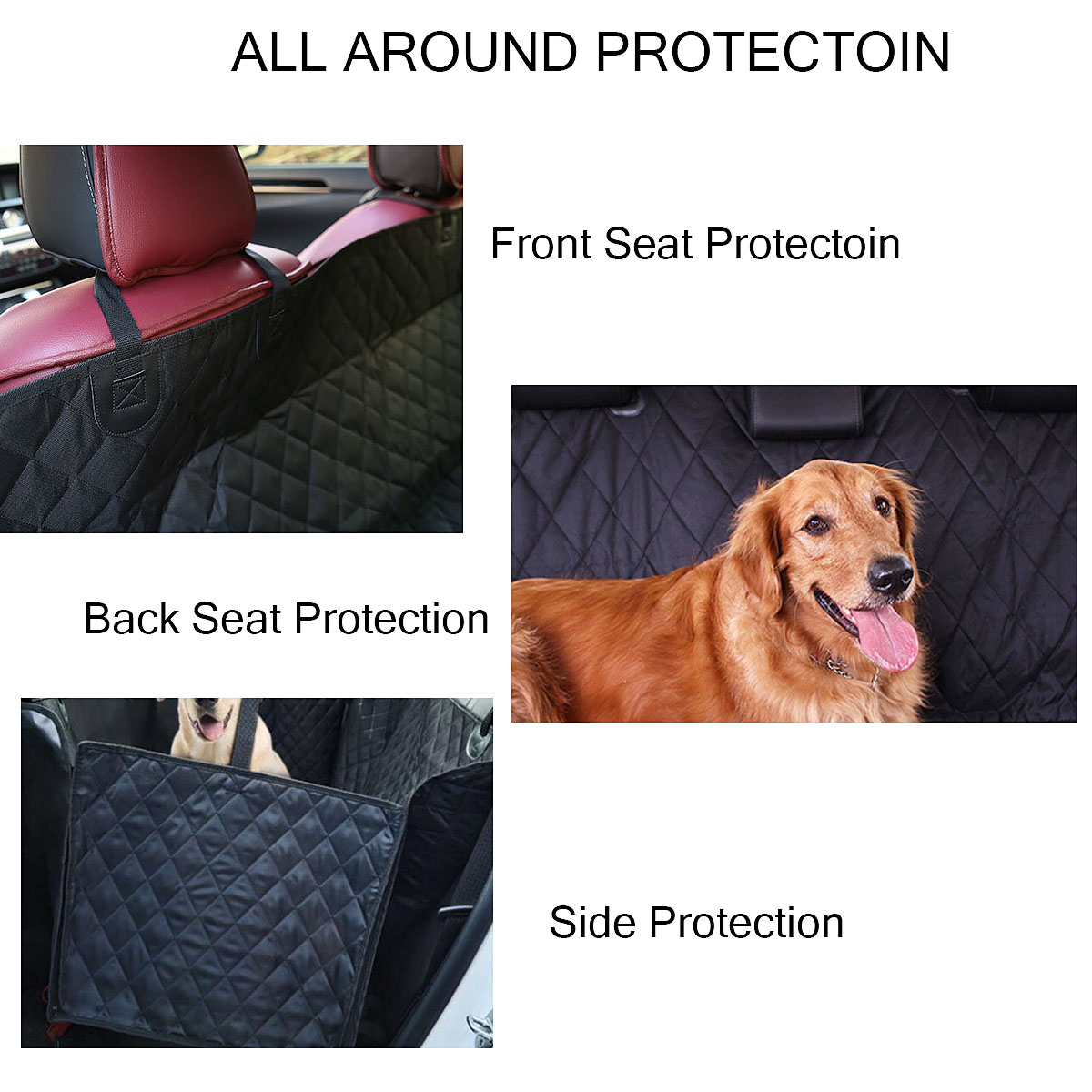 Car Rear Back Seat Pet Mat Dog Cat Cushion Hammock Protector Blanket Waterproof Black