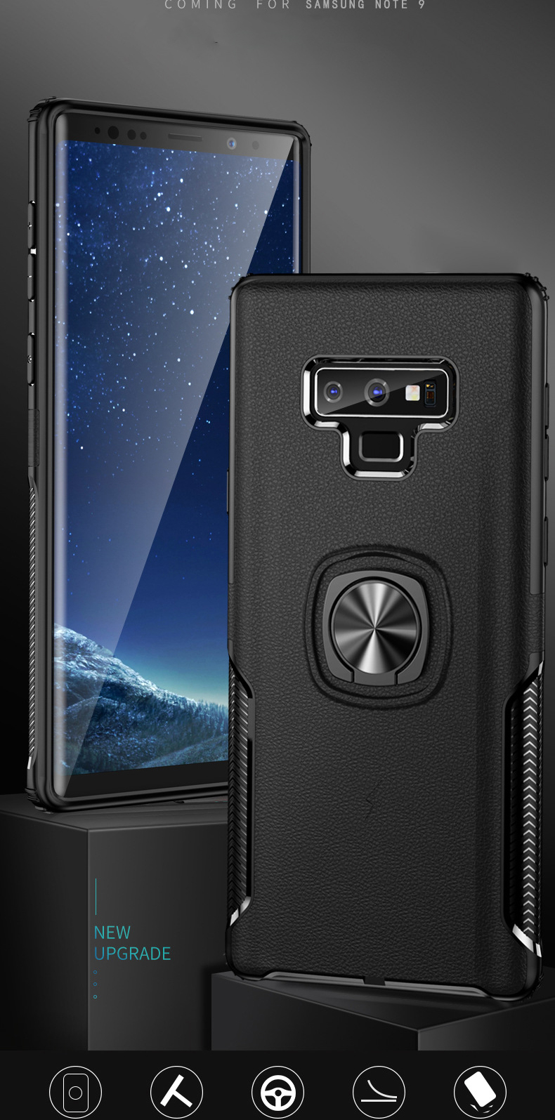 Bakeey Protective Case For Samsung Galaxy Note 9/Note 8 Ring Grip Bracket Magnetic Adsorption Back Cover