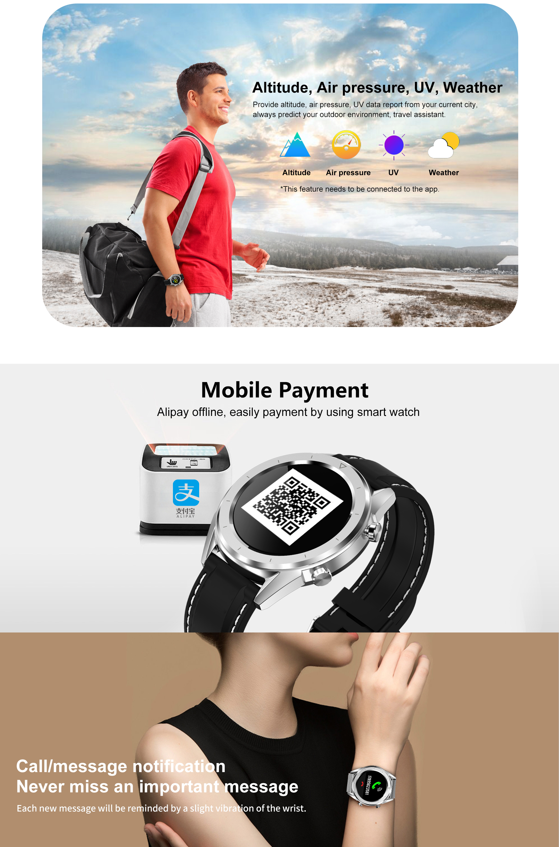 DT NO.1 DT28 1.54 Big Display Smart Watch ECG Monitor HR Blood Pressure Mobile Payment Watch